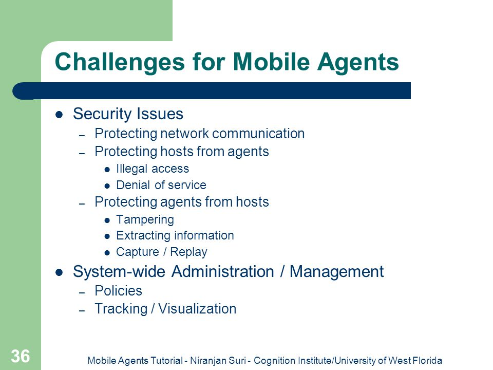Challenges for Mobile Agents