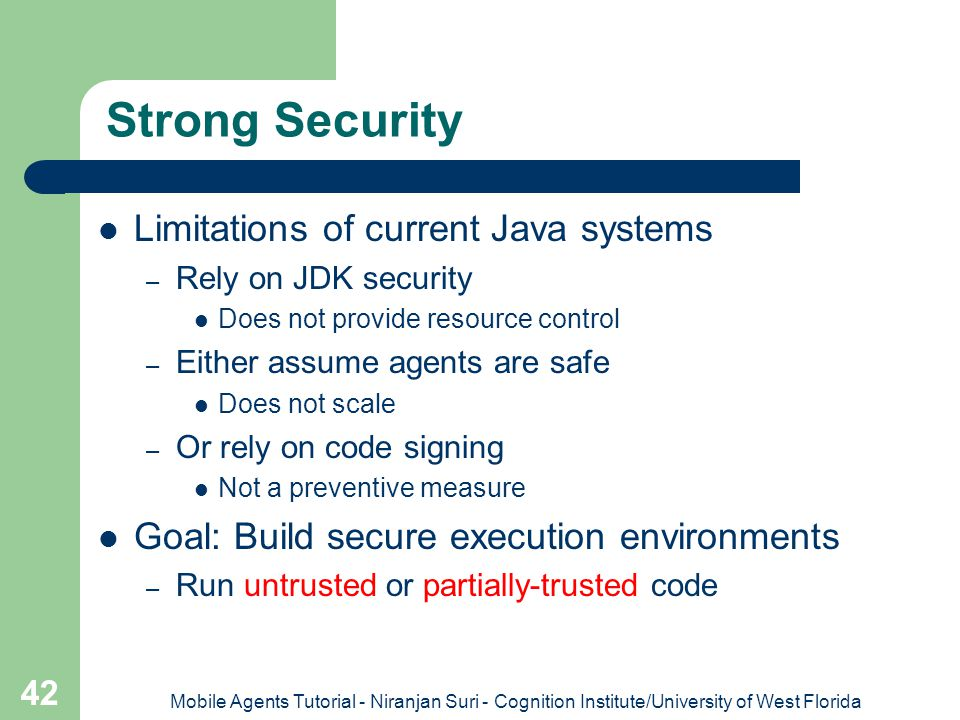 Strong Security Limitations of current Java systems