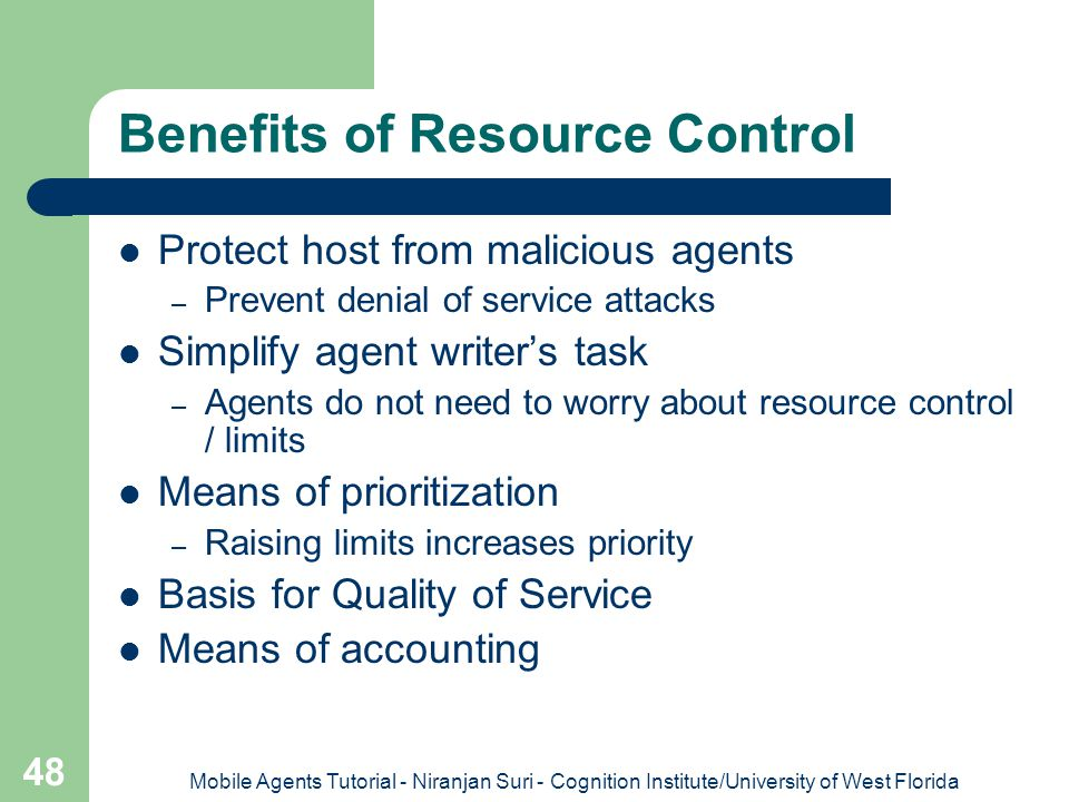 Benefits of Resource Control