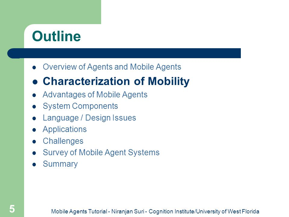 Outline Characterization of Mobility