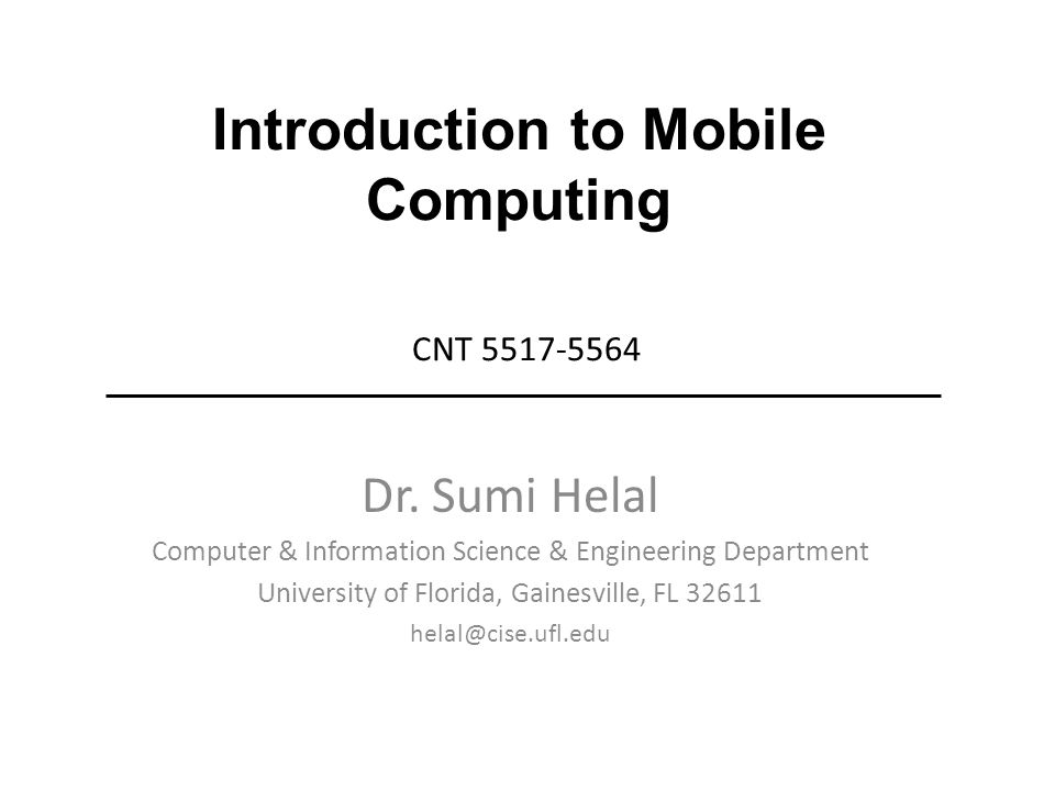 Introduction to Mobile Computing CNT