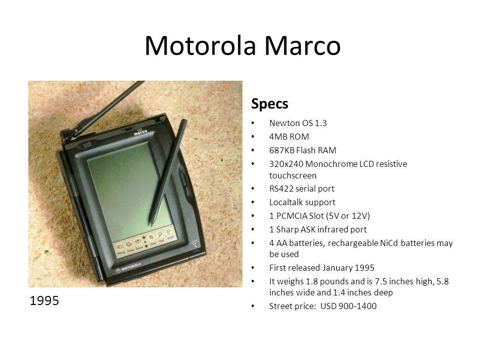 Motorola Marco Specs 1995 Newton OS 1.3 4MB ROM 687KB Flash RAM
