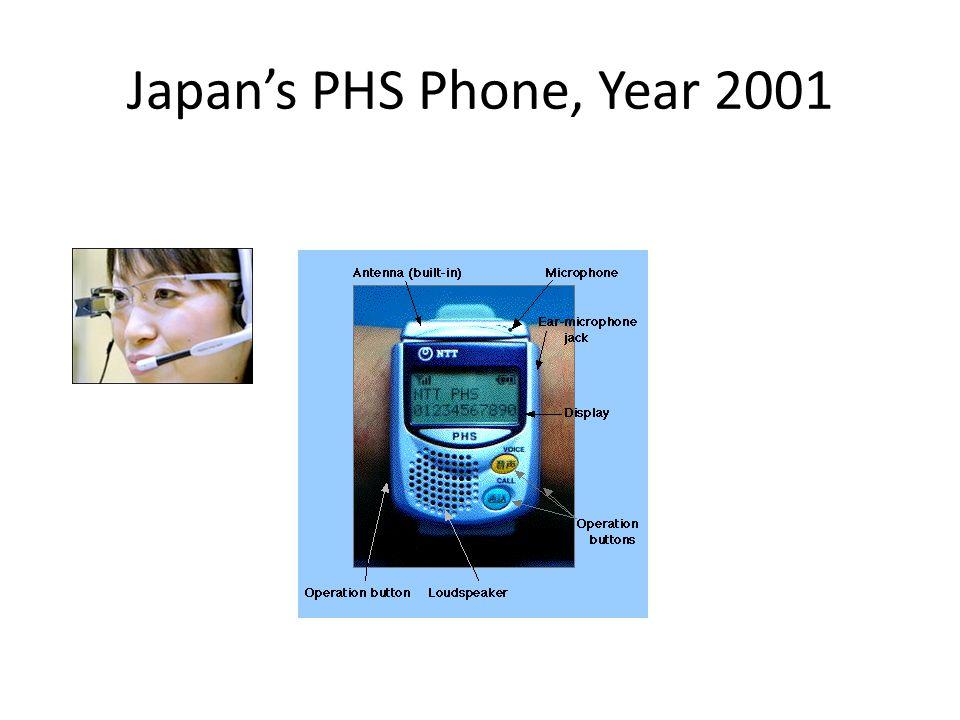 Japan's PHS Phone, Year 2001