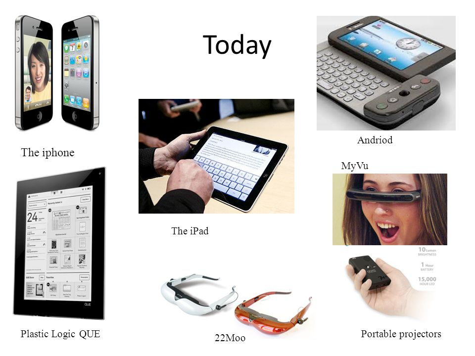 Today The iphone Andriod MyVu The iPad Plastic Logic QUE
