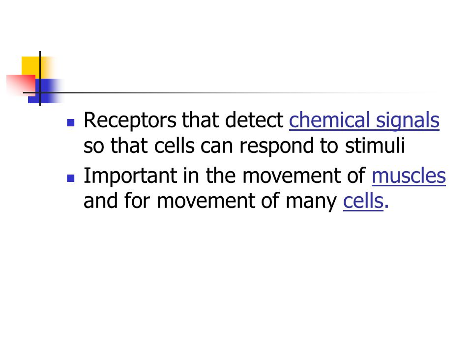 Receptors that detect chemical signals so that cells can respond to stimuli