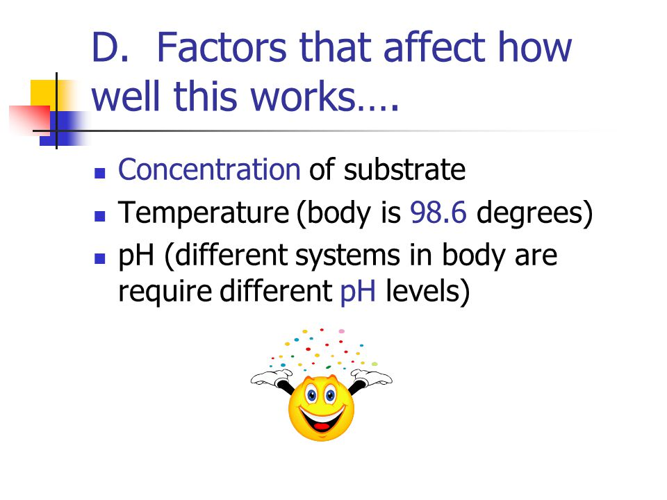 D. Factors that affect how well this works….