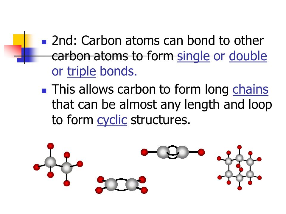 2nd: Carbon atoms can bond to other carbon atoms to form single or double or triple bonds.