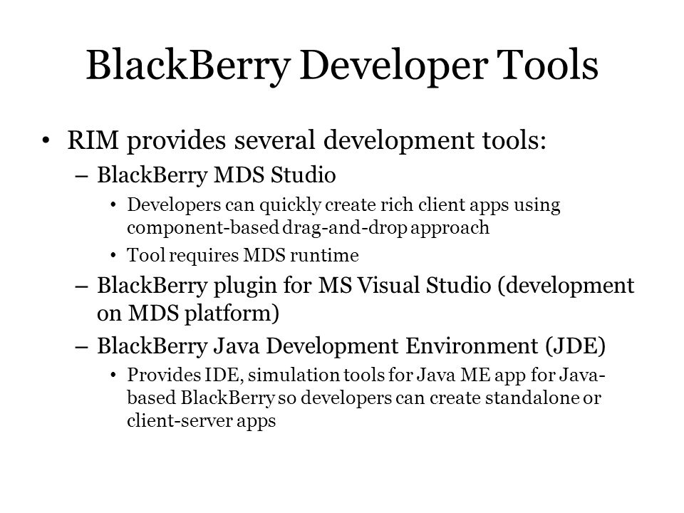 BlackBerry Developer Tools