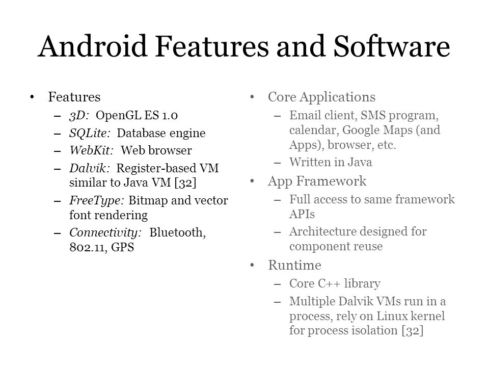 Android Features and Software