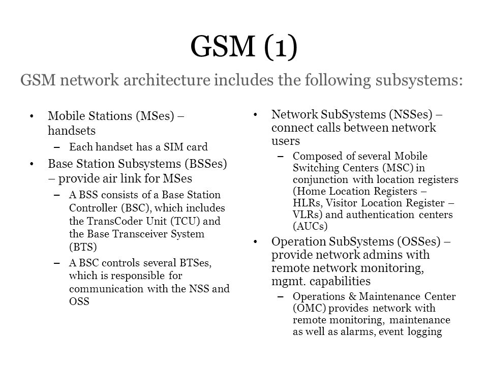 GSM network architecture includes the following subsystems: