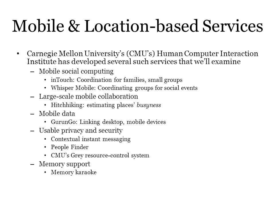Mobile & Location-based Services