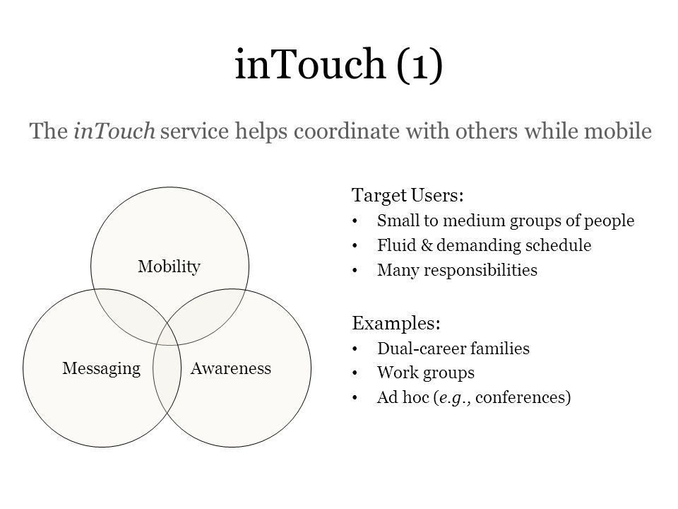 inTouch (1) The inTouch service helps coordinate with others while mobile. Target Users: Small to medium groups of people.