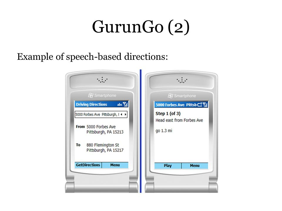 GurunGo (2) Example of speech-based directions: