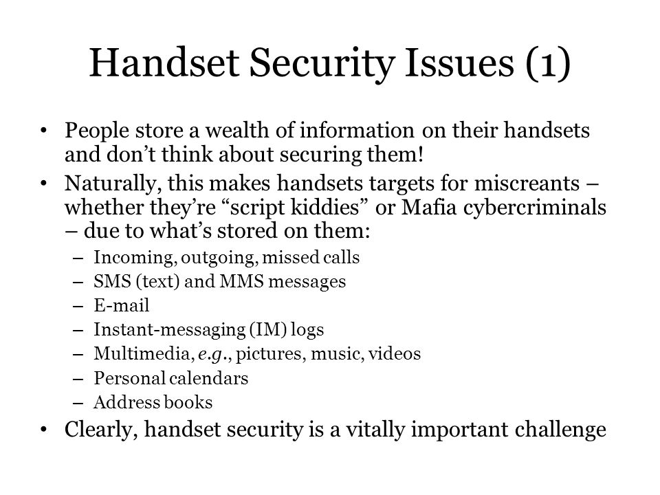 Handset Security Issues (1)