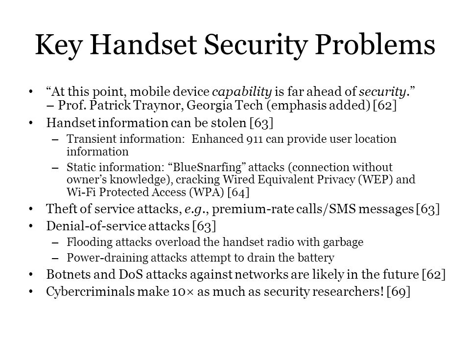 Key Handset Security Problems