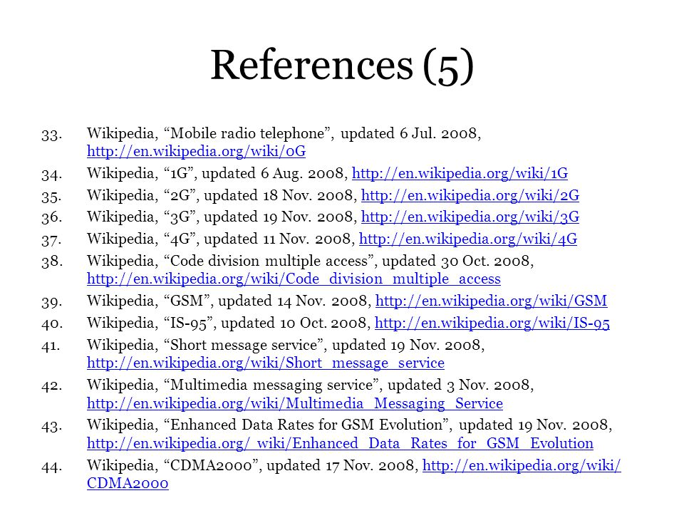 References (5) Wikipedia, Mobile radio telephone , updated 6 Jul. 2008, http://en.wikipedia.org/wiki/0G.