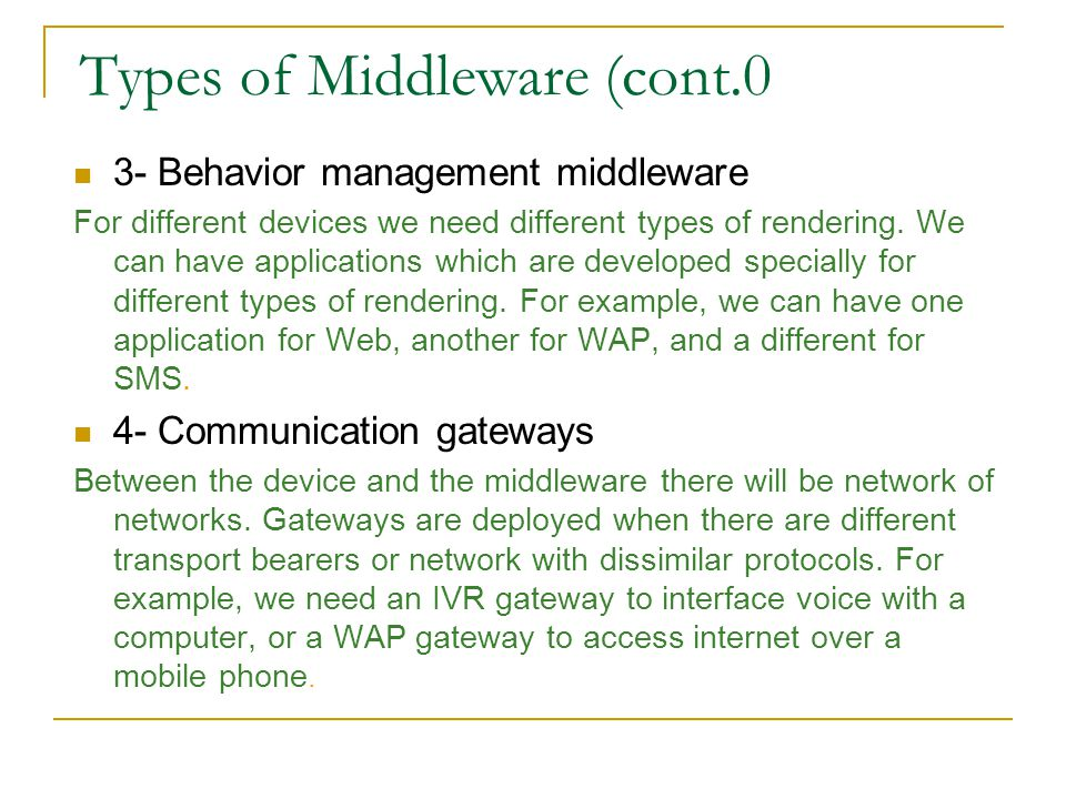 Types of Middleware (cont.0