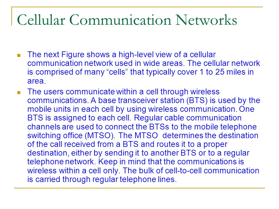 Cellular Communication Networks