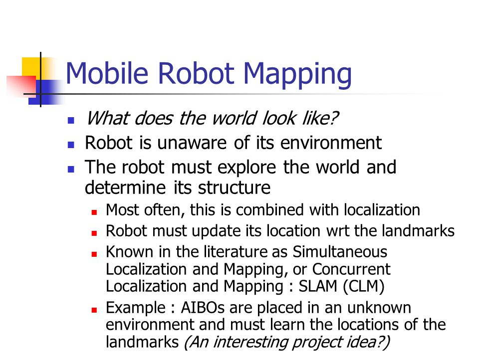 Mobile Robot Mapping What does the world look like