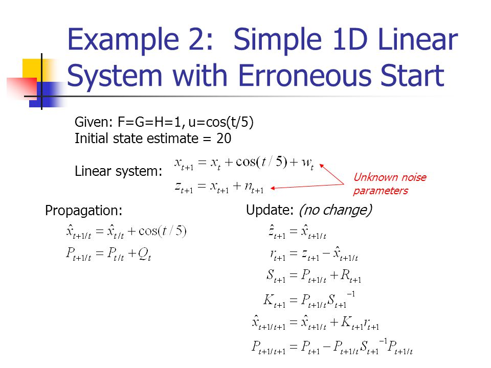 Example 2: Simple 1D Linear System with Erroneous Start