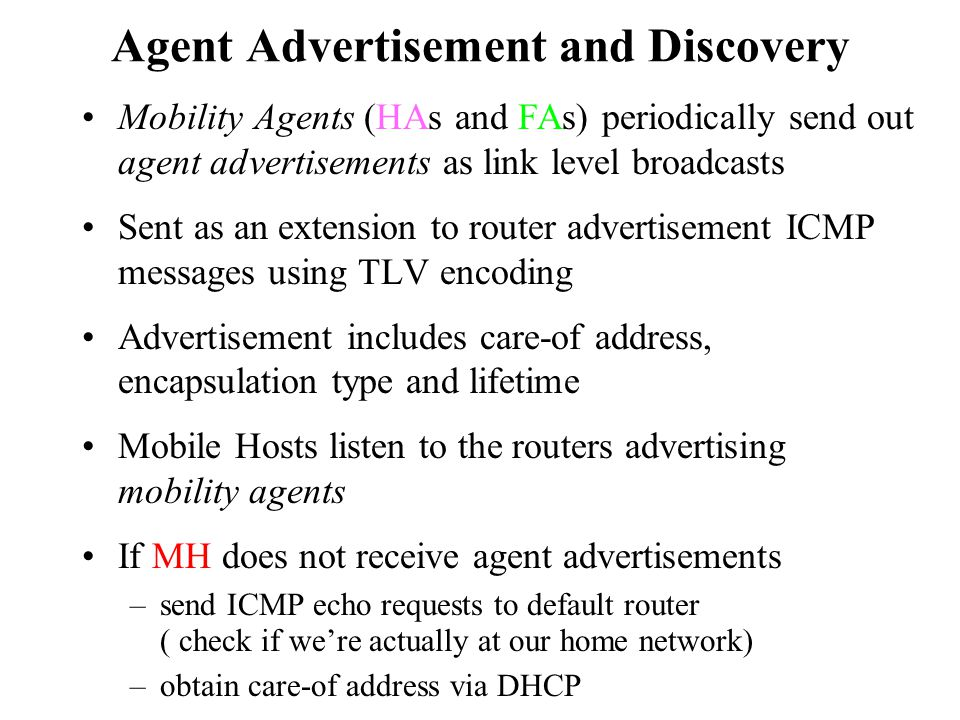 Agent Advertisement and Discovery