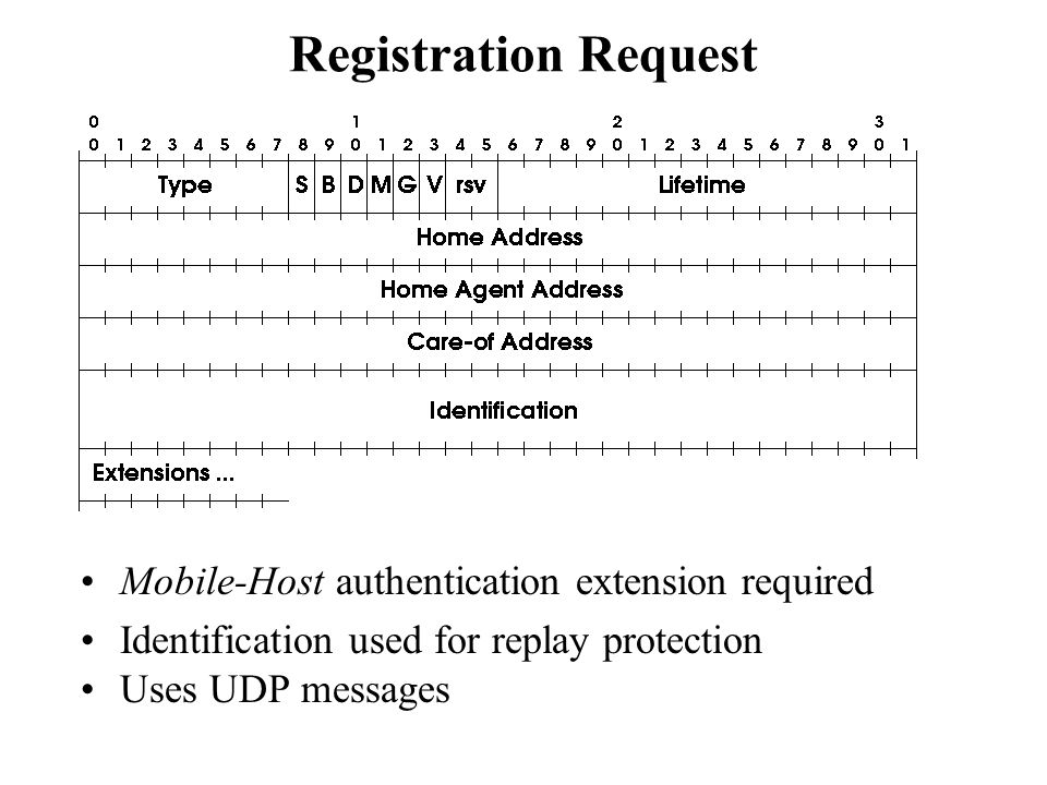 Registration Request Mobile-Host authentication extension required