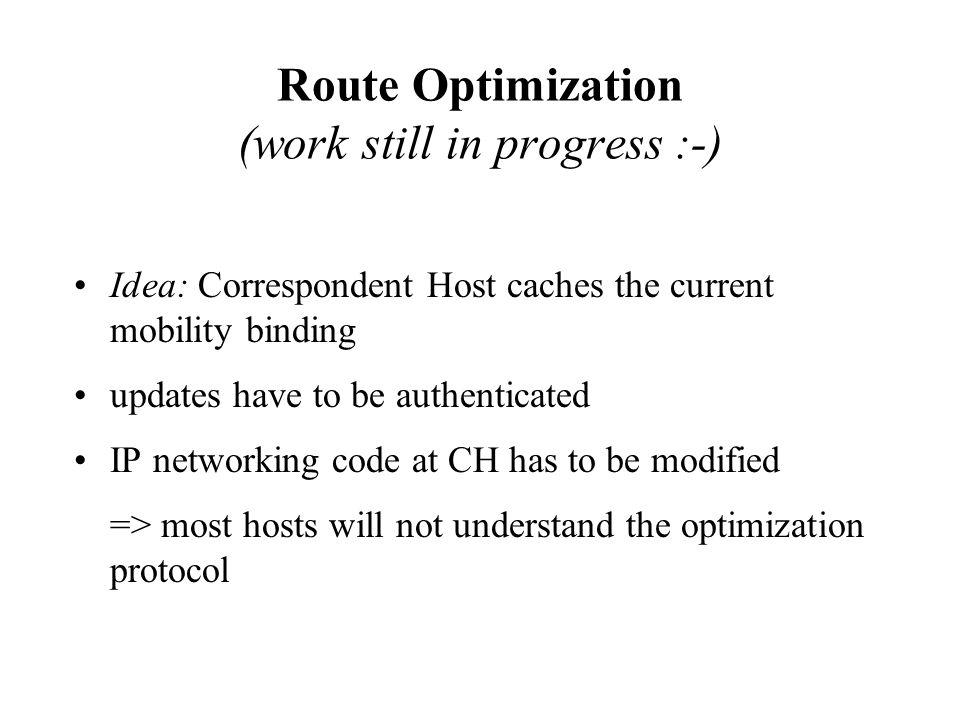 Route Optimization (work still in progress :-)