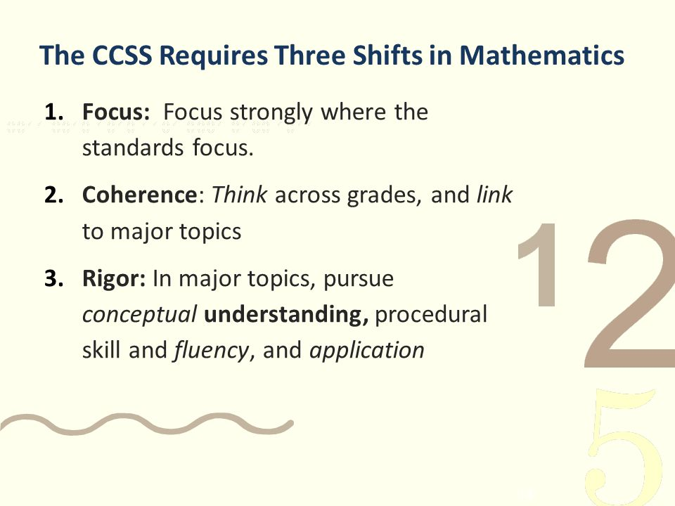 The CCSS Requires Three Shifts in Mathematics