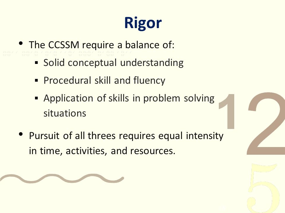 Rigor The CCSSM require a balance of: Solid conceptual understanding