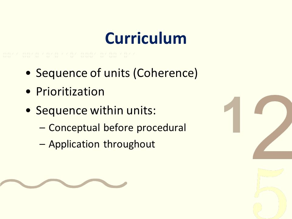 Curriculum Sequence of units (Coherence) Prioritization