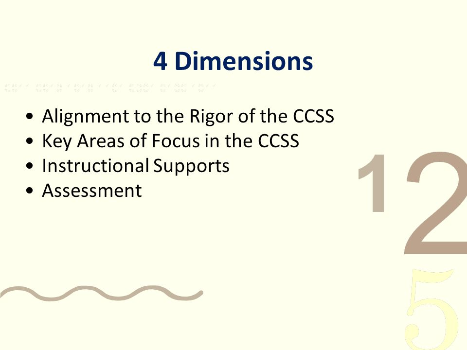 4 Dimensions Alignment to the Rigor of the CCSS