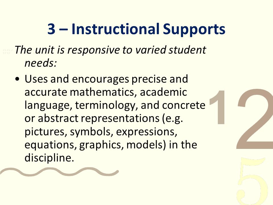 3 – Instructional Supports