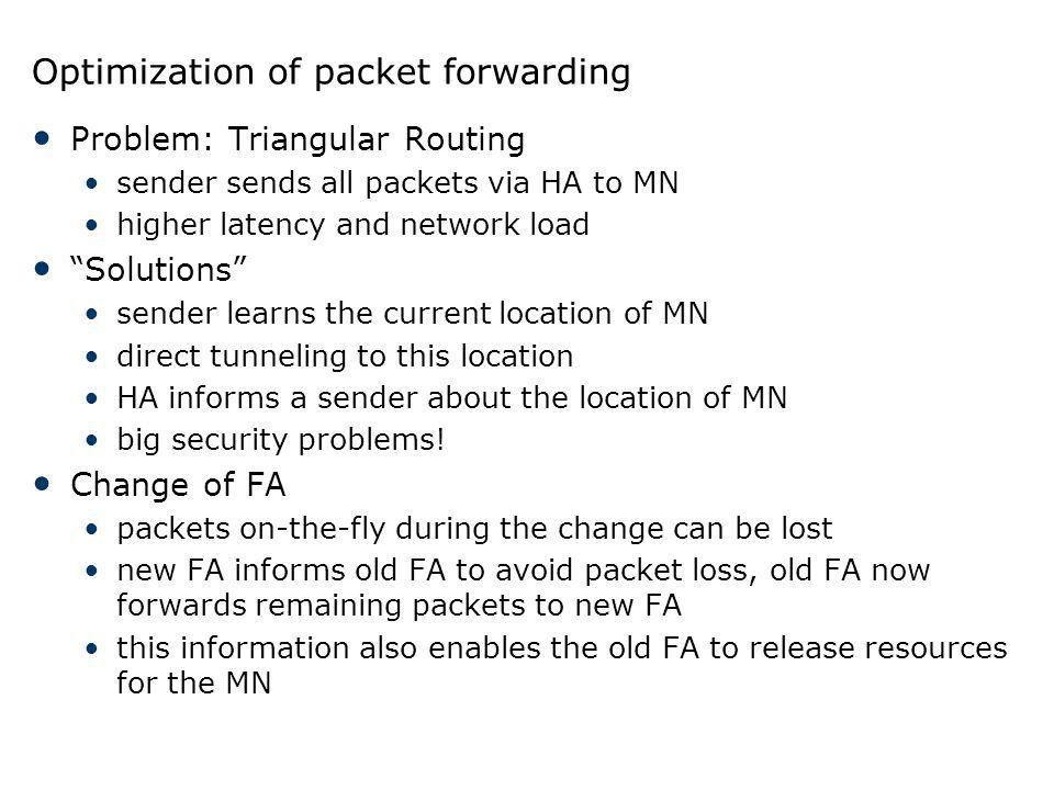 Optimization of packet forwarding