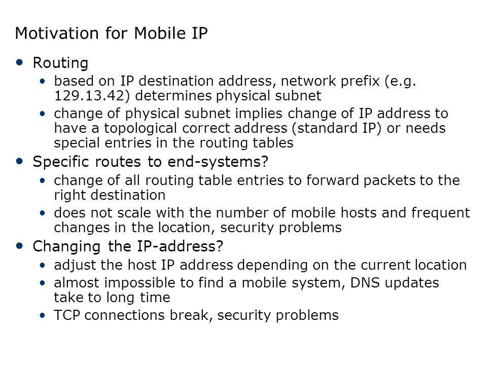 Motivation for Mobile IP