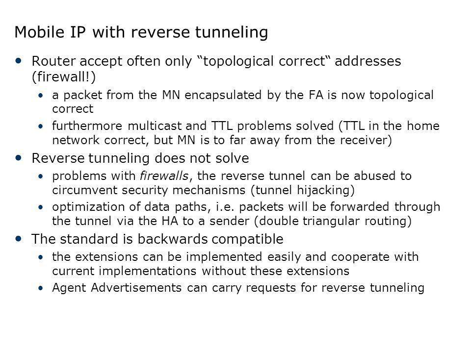 Mobile IP with reverse tunneling