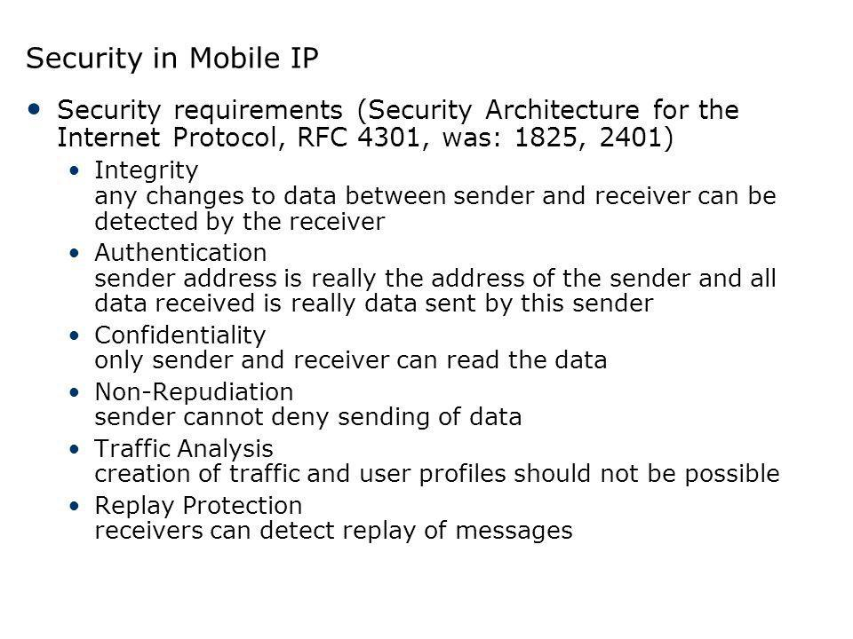 Security in Mobile IP Security requirements (Security Architecture for the Internet Protocol, RFC 4301, was: 1825, 2401)
