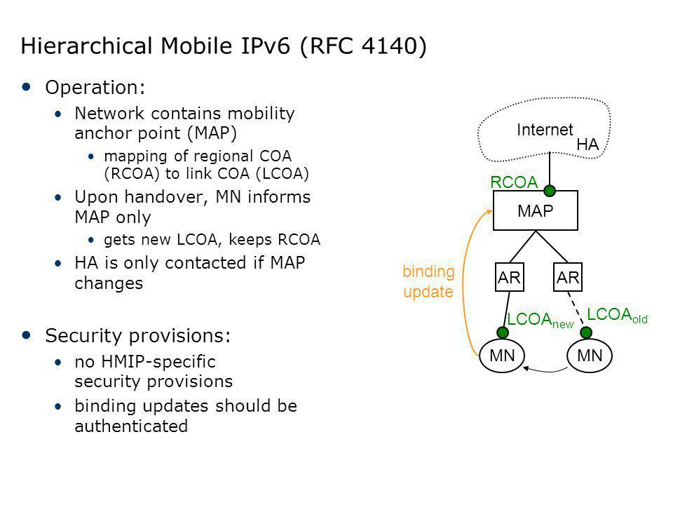 Hierarchical Mobile IPv6 (RFC 4140)