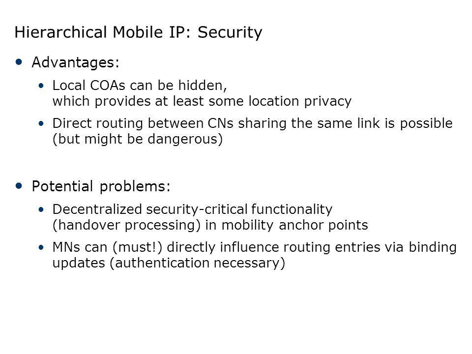 Hierarchical Mobile IP: Security