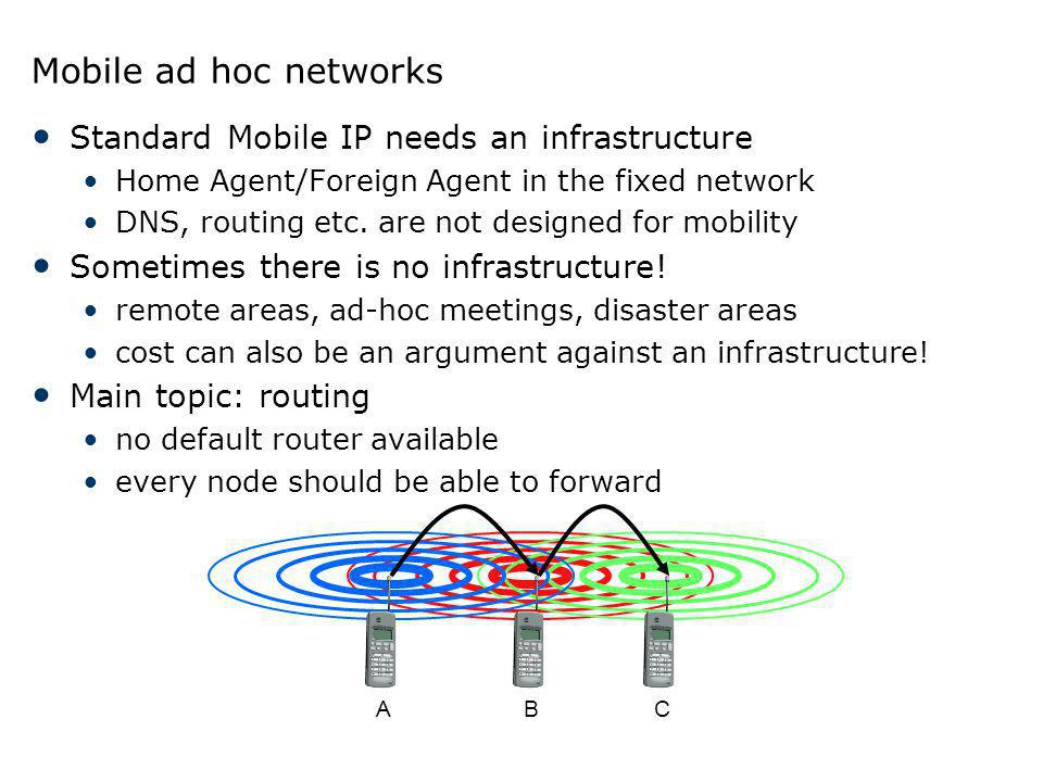 Mobile ad hoc networks Standard Mobile IP needs an infrastructure