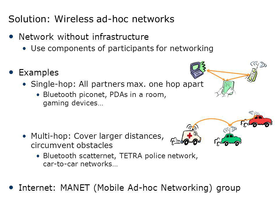 Solution: Wireless ad-hoc networks