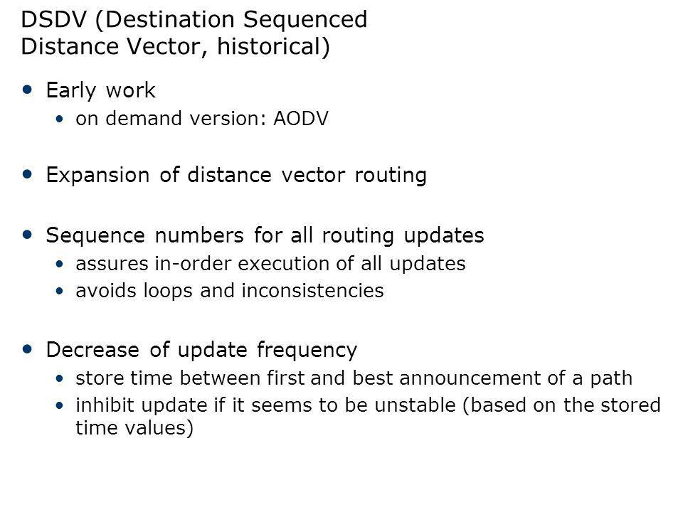 DSDV (Destination Sequenced Distance Vector, historical)