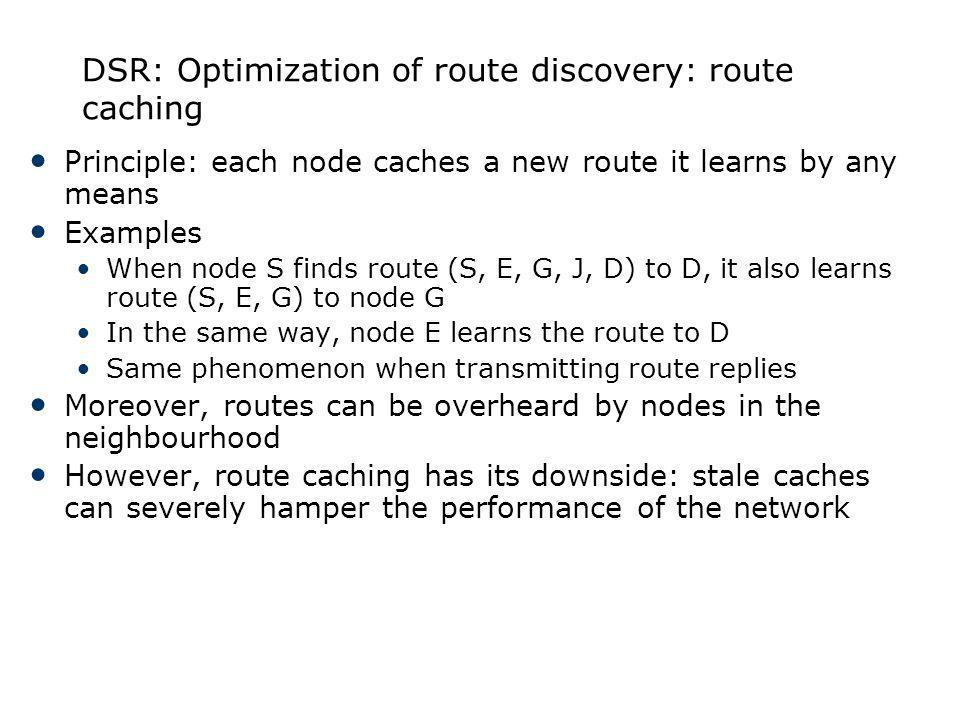 DSR: Optimization of route discovery: route caching