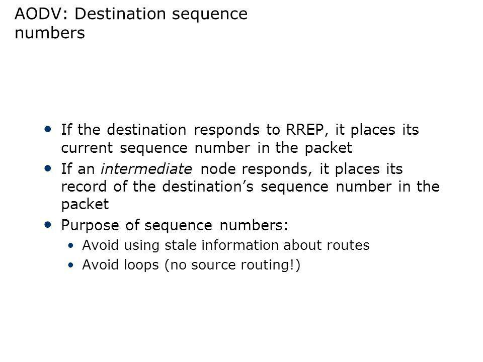 AODV: Destination sequence numbers