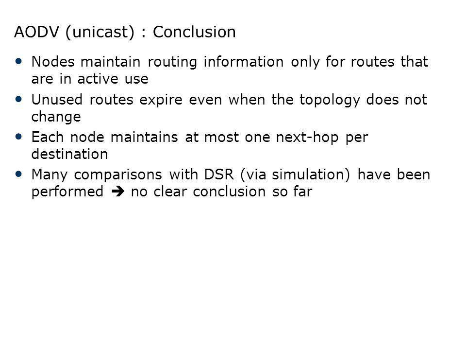 AODV (unicast) : Conclusion