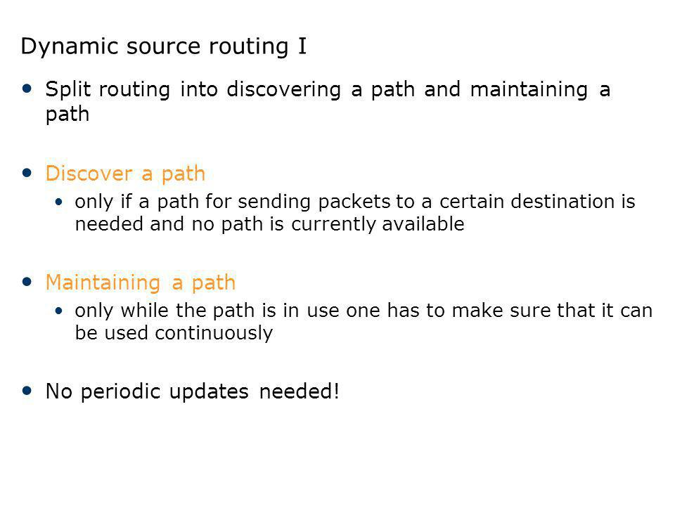 Dynamic source routing I