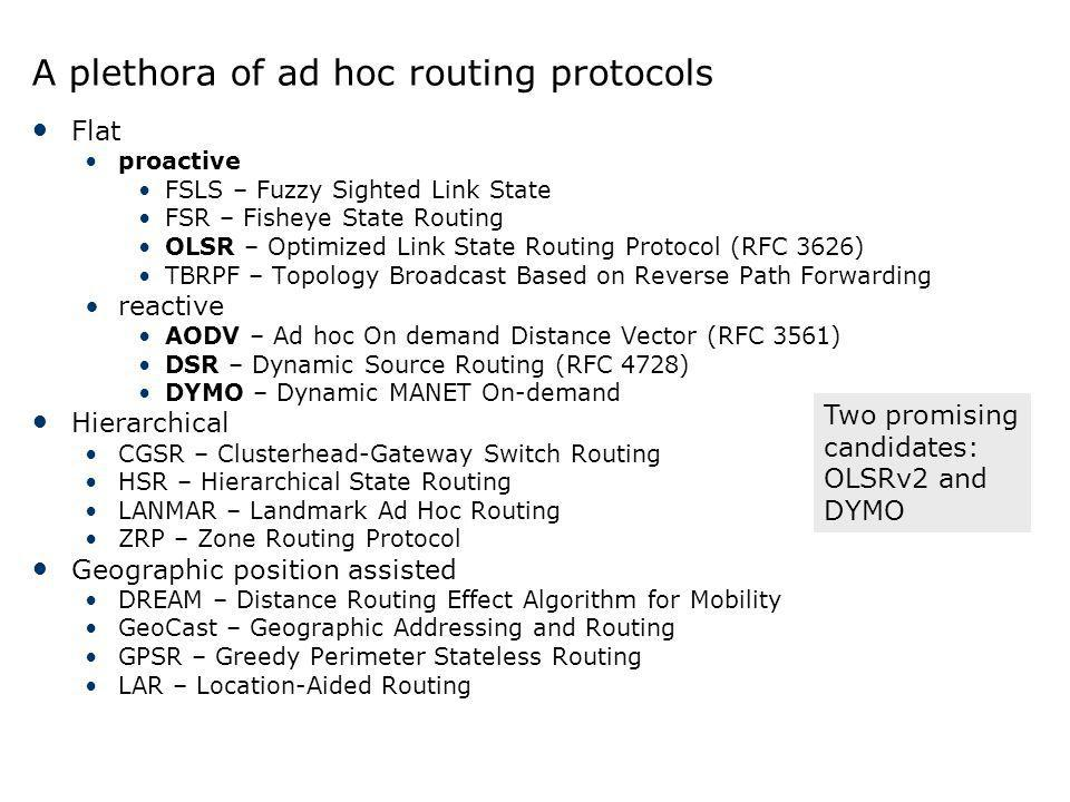 A plethora of ad hoc routing protocols