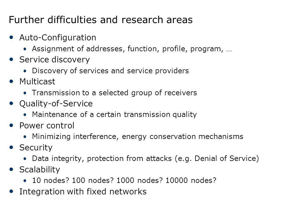 Further difficulties and research areas