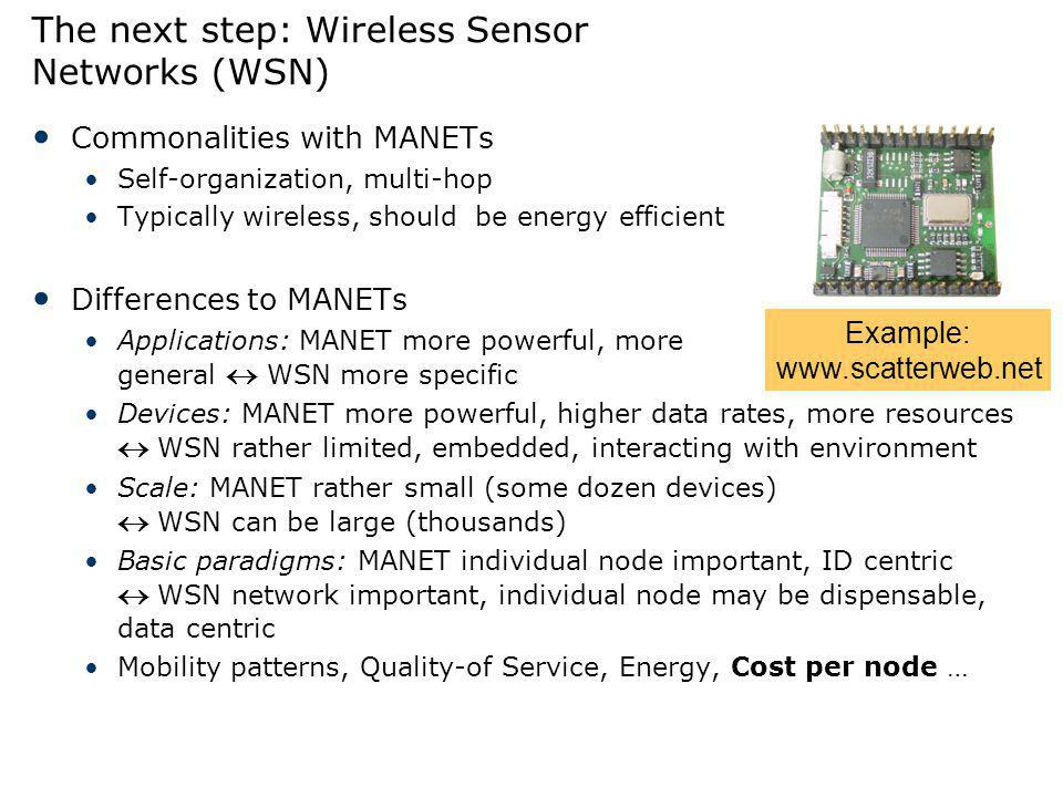 The next step: Wireless Sensor Networks (WSN)