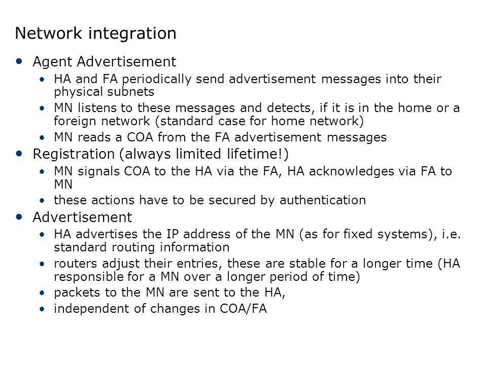 Network integration Agent Advertisement