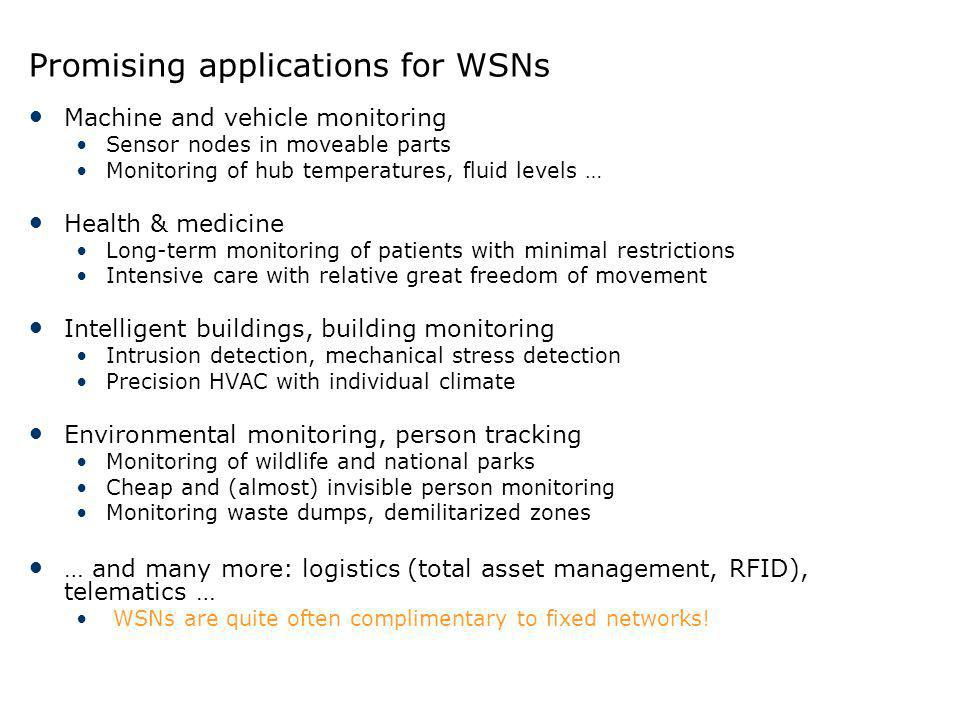 Promising applications for WSNs